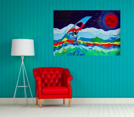 room windsurfer with red moon