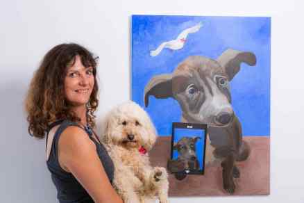 Nikki Attree, artist in her studio and with Gizmo the dog, El Medano, Tenerife.